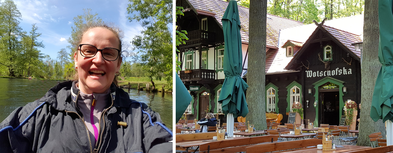 Reiseleiterin Kristin und Gaststätte Wotschofska im Spreewald