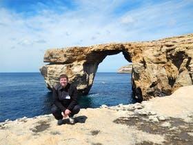 Dominik Zilliken am Azure Window auf Gozo
