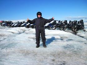 Snowmobiling auf dem Langjoekull in Island