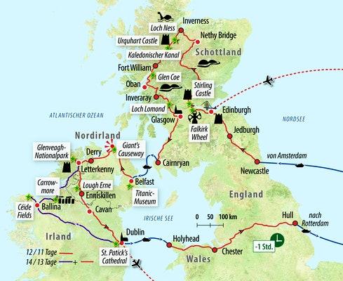 Schottland Karte Highlands.Rundreise Kombination Schottland Nordirland Und Irland
