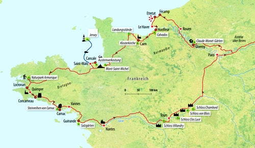 Ihre Auto-Rundreise-Route in Frankreich