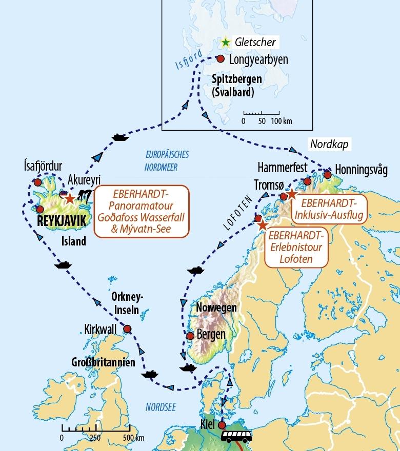 Karte Norwegen Drucken.Kreuzfahrt Island Spitzbergen Norwegen Mit Aidaluna