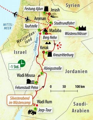 Ihre Reiseroute im Königreich Jordanien