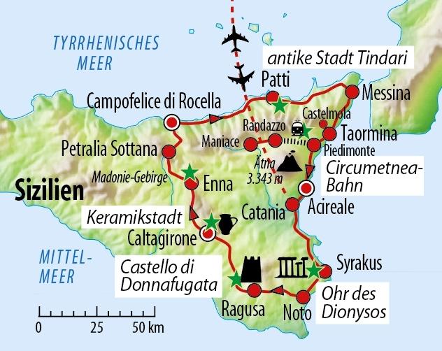 Sizilien Karte ätna.Rundreise Sizilien Für Liebhaber Und Kenner