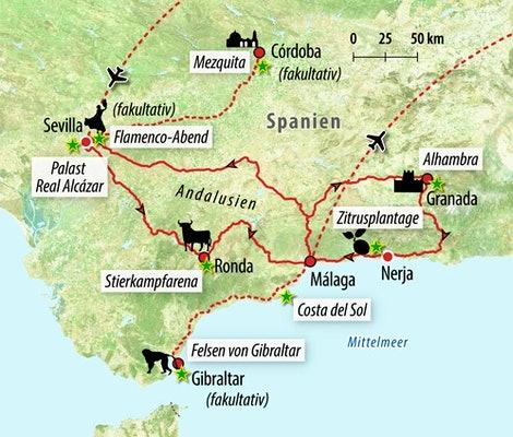 Ihre Reiseroute in Spanien