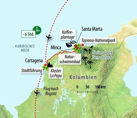 Ihre Rundreise-Route in Kolumbien