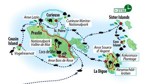 Ihre Reiseroute auf Praslin