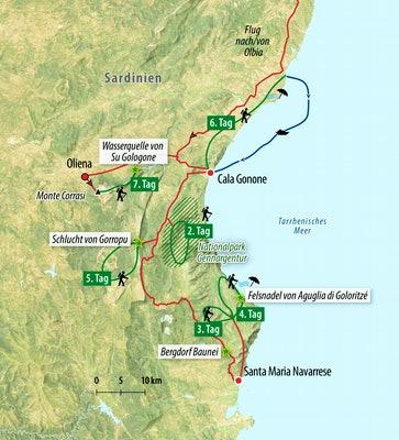 Ihre Rundreise-Route auf Sardinien