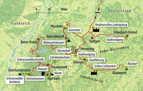 Ihre Reiseroute Baden-Württemberg