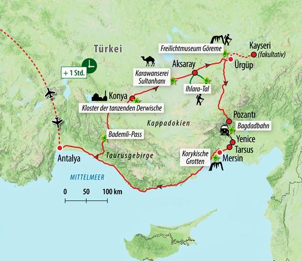 Karte Türkei Kappadokien.Rundreise Türkei Karawanenrouten In Kappadokien