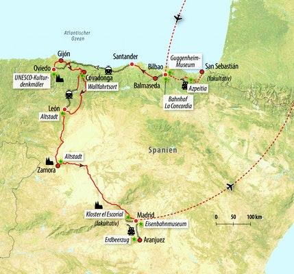 Ihre Zug-Rundreise-Route in Spanien
