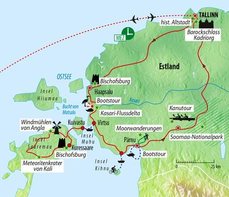 Reiseroute Aktivreise Estland