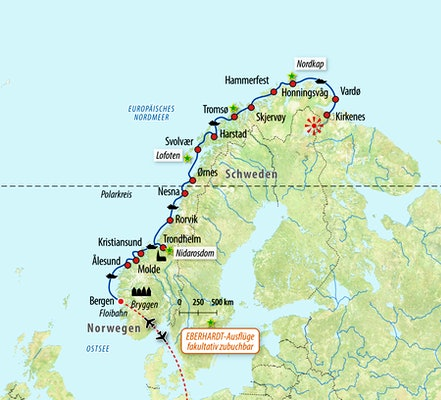 Karte Norwegen Hurtigruten.Kreuzfahrt In Norwegen Mit Hurtigruten