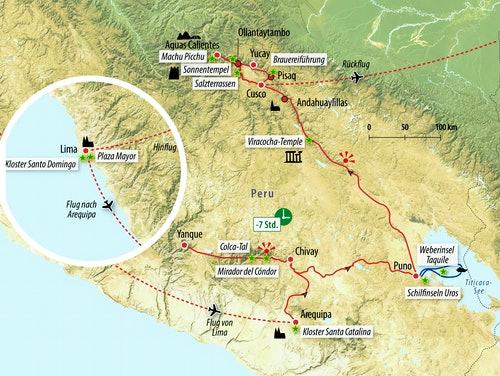 Ihre Rundreise-Route in Peru