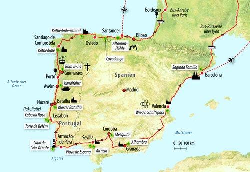 Ihre Rundreise-Route auf der Iberischen Halbinsel