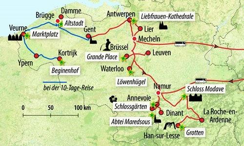Ihre Reiseroute in Belgien