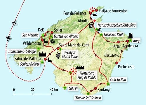Ihre Reiseroute auf Mallorca