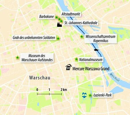 Stadtplan von Warschau
