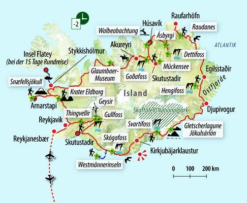 Ihre Reiseroute durch Island
