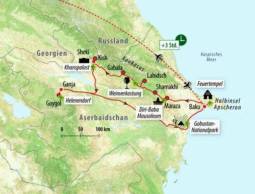 Baku Aserbaidschan Karte.Rundreise Aserbaidschan