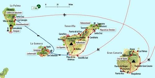 Kanaren Inseln Karte.Rundreise Inselhupfen Auf Den Kanaren