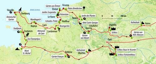 Ihre Reiseroute in Frankreich