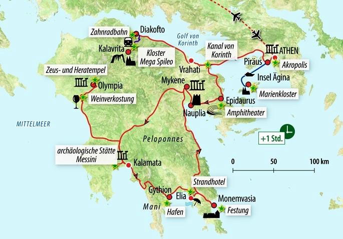 Peloponnes Karte Regionen.Rundreise Athen Peloponnes