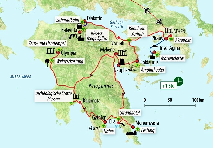 Karte Griechenland Peloponnes.Rundreise Athen Peloponnes