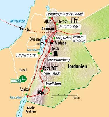Ihre Reiseroute in Jordanien