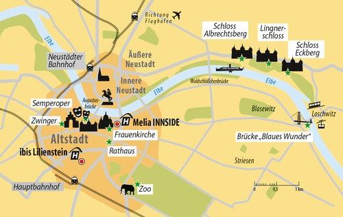 Stadtplan Dresden & Hotels