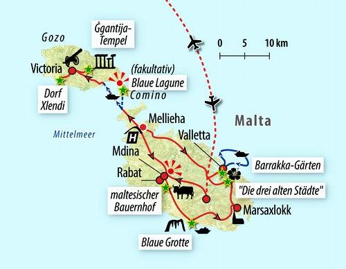 Ihre Reiseroute auf Malta