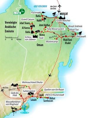 Ihre Reiseroute im Sultanat Oman