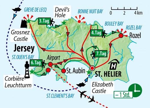 Ihre Reiseroute auf Jersey