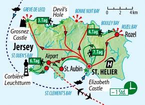 Ihre Reiseroute auf Jersey, Copyright: Eberhardt TRAVEL
