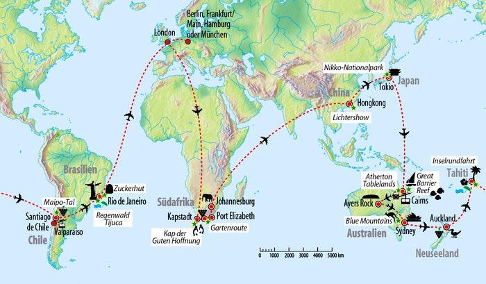 Ihre Weltreise-Route