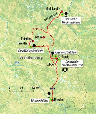Ihre Whisky-Rundreise-Route in Brandenburg
