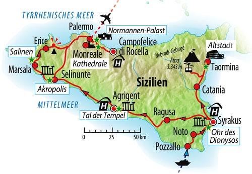 Ihre Reiseroute auf Sizilien