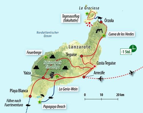 Ihre Reiseroute auf Lanzarote