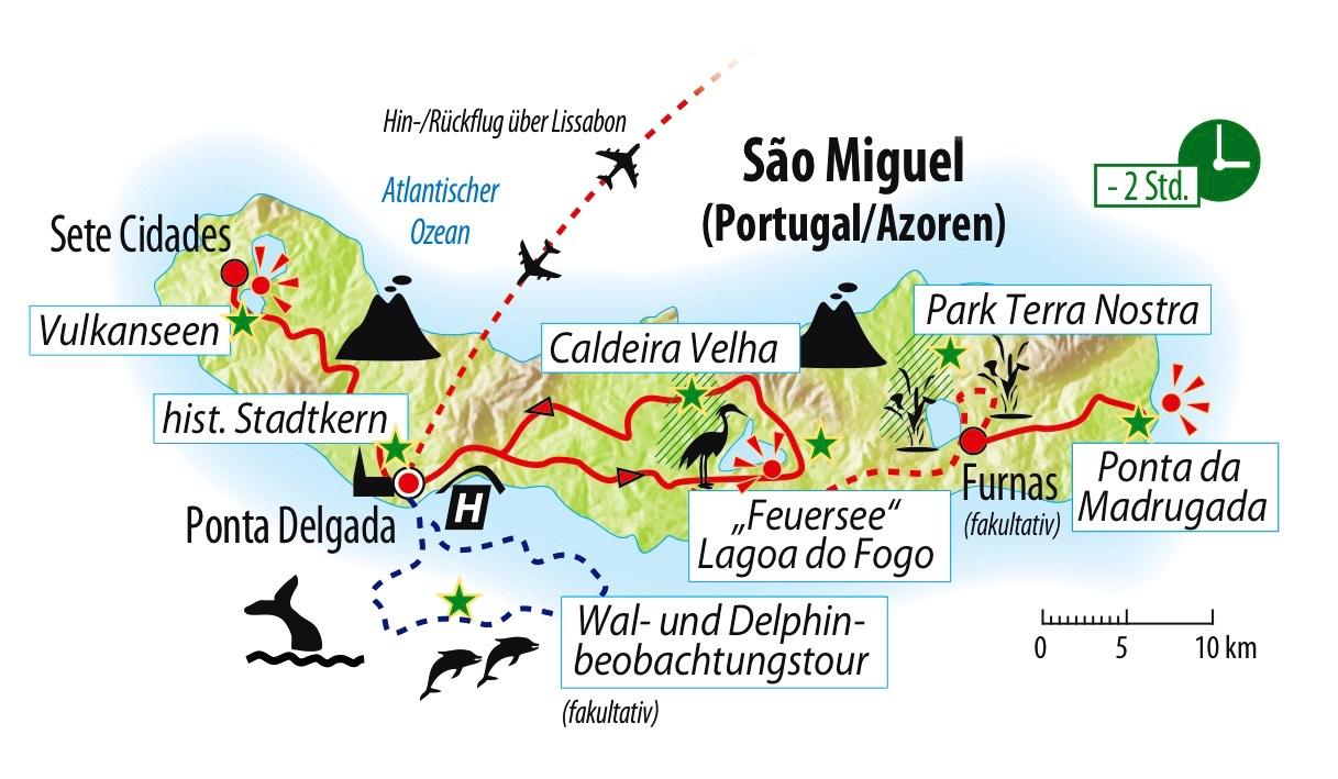 Azoren Karte Portugal.Azoren Insel Sao Miguel Saison 2019 Bahnanreise Pt Azorg
