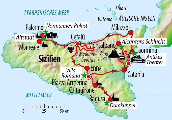 Sizilien Karte ätna.Mietwagen Rundreise Durch Sizilien Thema Erde