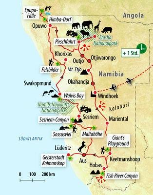 Ihre Reiseroute durch Namibia