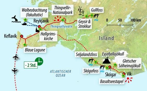Ihre Reiseroute auf Island