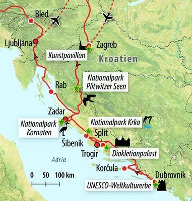 Ihre Reiseroute durch Kroatien