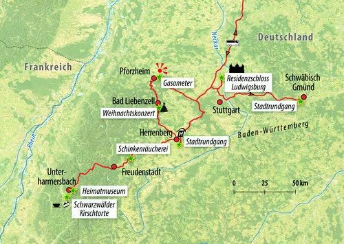 Ihre Reiseroute in Baden-Württemberg