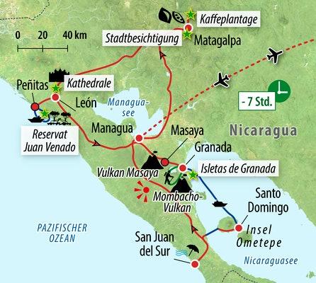 Ihre Reiseroute durch Nicaragua