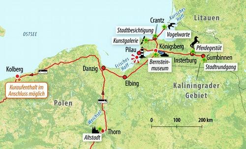 Ihre Reiseroute im Kaliningrader Gebiet