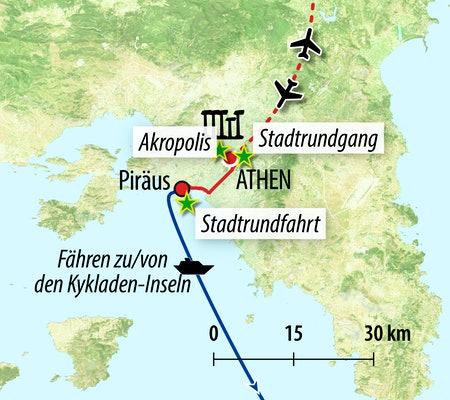 Ihre Reiseroute von/nach Athen