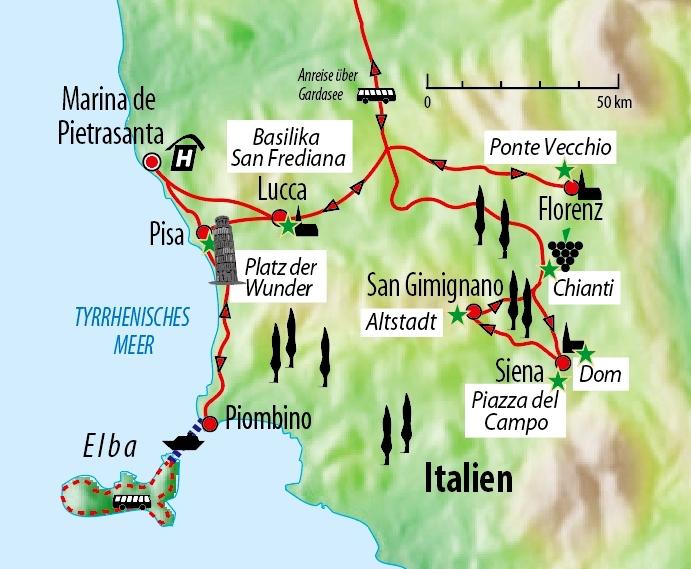 Toskana Karte Deutsch.Italien Rundreise Durch Die Toskana