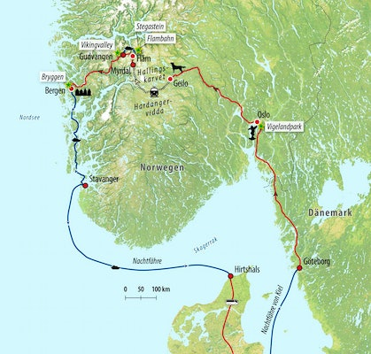 Ihre Rundreise-Route in Norwegen