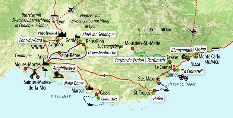 Camargue Karte.Rundreise Südfrankreich Provence Und Cote D Azur